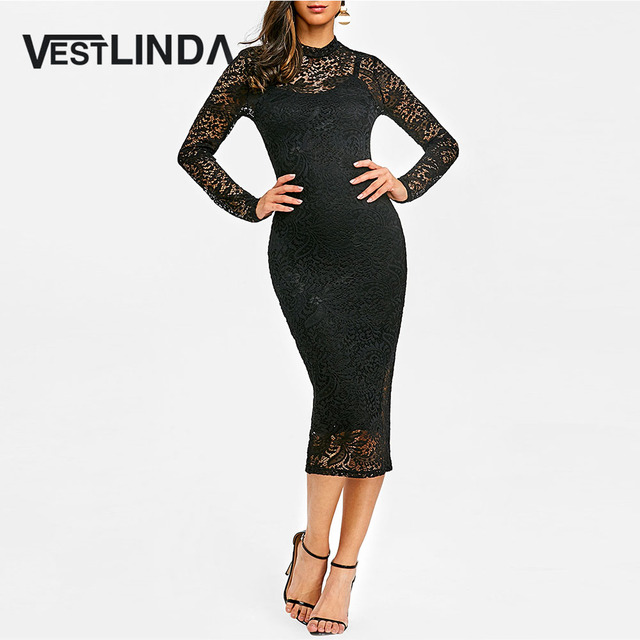 VESTLINDA Lace Midi Bodycon Dress Women Sexy Club Party Dresses Vestidos De  Festa Fashion Black Stand Long Sleeves Robe Femme c3d3f8cf2dee