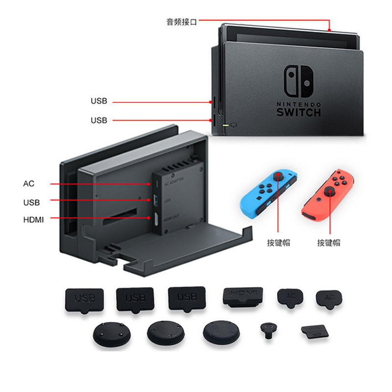 Купить с кэшбэком Protection Dustproof Mesh Jack Stopper Kit For Nintend Switch Console+HD Tempered Glass Screen Protector For Nintendo Switch NS