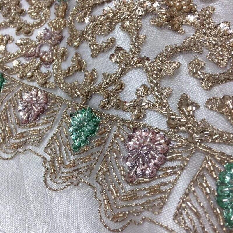 Африканский 2018 кружева с пайетками Золото бисера тюль кружевной ткани с камнями Нигерии кружевной ткани для Семья Платья для вечеринок