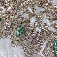 Африканский 2018 кружево с блестками золото бисером тюль ткань камнями в нигерийском стиле S для семья вечерние платья