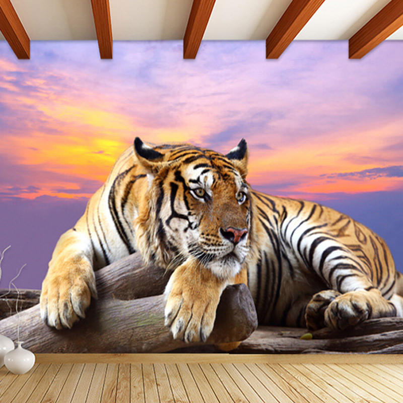 Customized 3D Tiger Animal Wallpapers Large Mural Bedroom