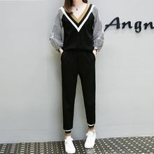 Women sets plus size casual T shirt pullover top blouse+ trousers elastic stretch two piece sets