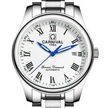 Carnival Mens Business Fluoresecent Luminous Automatic Mechanical Watch Wristwatch – silver bezel white dial