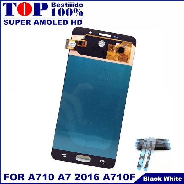 قطعة بديلة لمستشعر شاشات Lcd لسامسونج غالاكسي A7 2016 A710 A710F A710M AMOLED شاشة هاتف LCD مجموعة المحولات الرقمية لشاشة تعمل بلمس