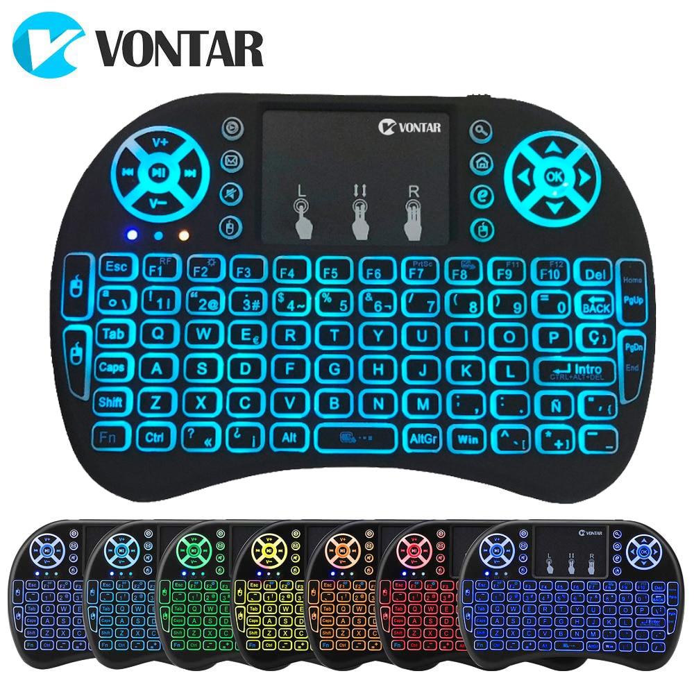 Ausdauernd Vontar I8 + 2,4 Ghz Mini Drahtlose Tastatur 7 Farben Backlit Air Maus Englisch Russisch Spanisch Für Android Tv Box Laptop Pc X96mini Gesundheit Effektiv StäRken