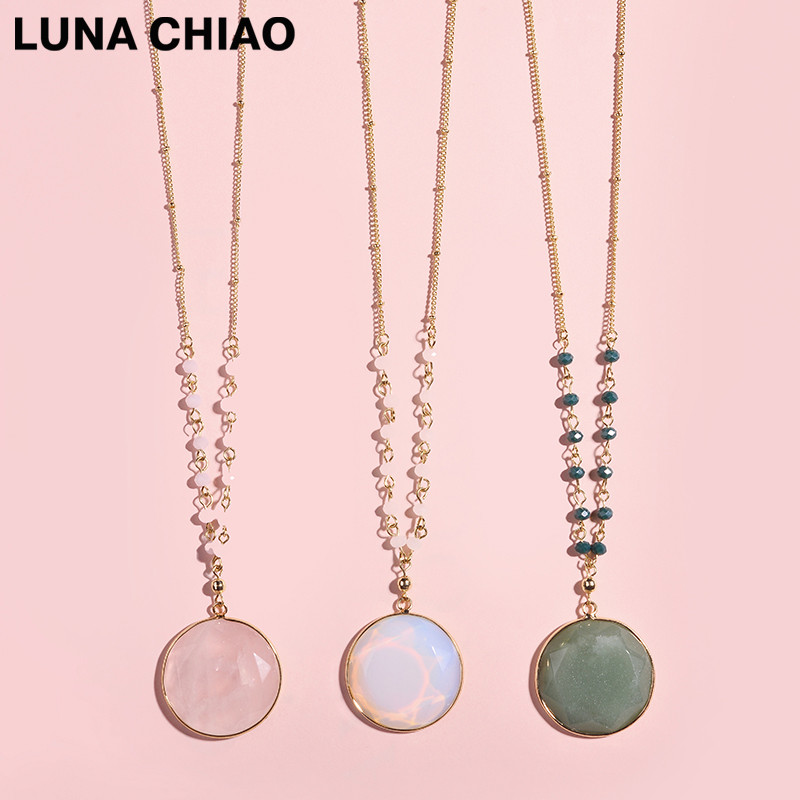 LUNA CHIAO American Europen Popular Round Framed Facet Round Stone Necklaces Long Chain Pendants & Necklace for Women luna chiao fashion ins popular round natural stone fan fringed cotton tassel necklaces pendants for women