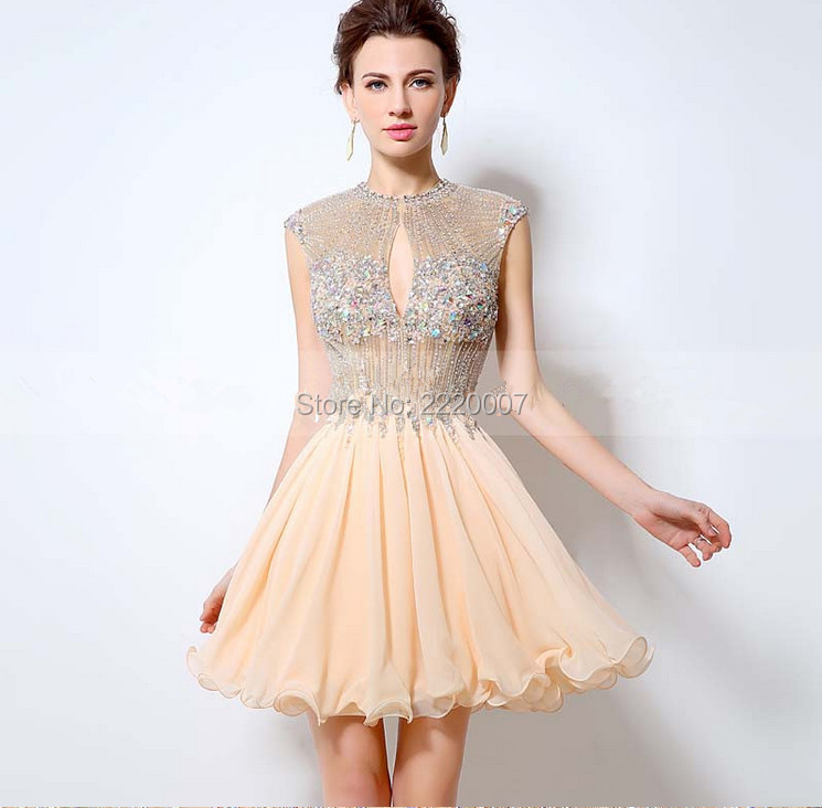 New Fashion Cap Sleeve Open Back Sparkly Beads Short Chiffon Party font b Dress b font