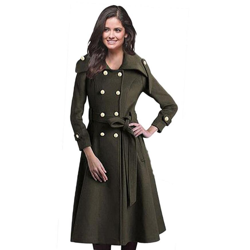 Winter Fall Woolen Jacket Women Long Coat European Style Military Jacket Vintage Fashion Slim