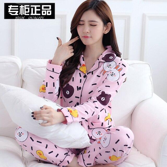 Женские пижамы Наборы для ухода за кожей женские Модные хлопок Бурый  Медведь Кролик пижамы Наборы для 5b3ba50802b4e