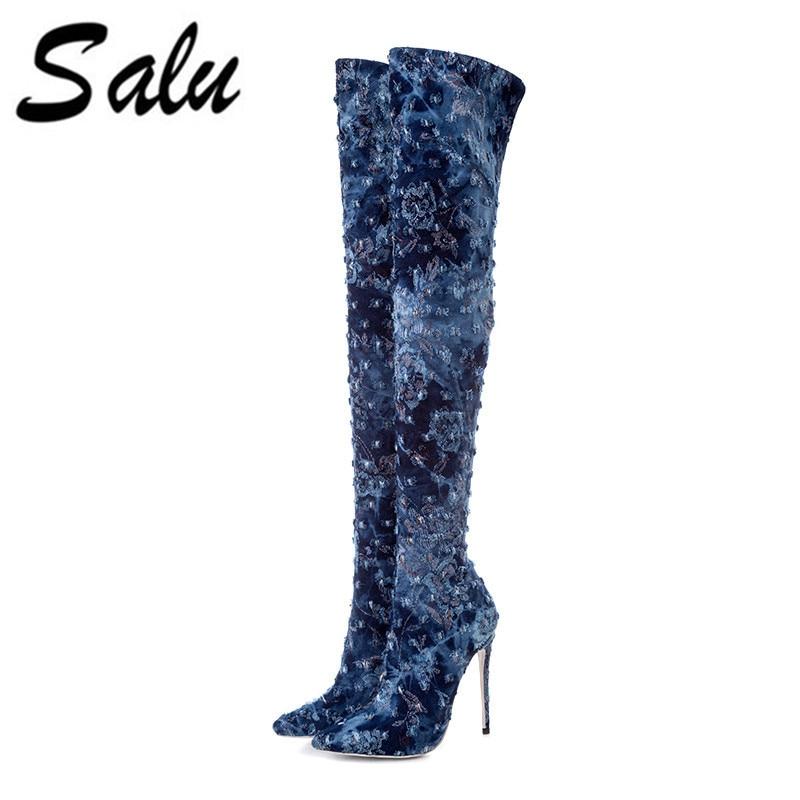Longues Salu Mode Talons Femme Grande Pointu Sur Taille Le Sexy Chaussures 43 Bottes Bout Genou Bleu Mince Hauts 33 2018 De Partie vvnwrfHaq