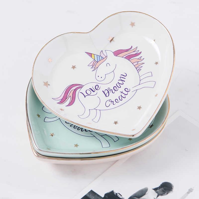 A Forma di Cuore piccolo Unicorno Piatto Piatto Piatto di Ceramica Piatto di Caramelle Piattino Porcellana Gioielli Anello Piatto Piatto Piatto Decorativo Vassoio