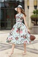 Urumbassa women's dress 2018 summer runways floral print sleeveless ball gown dress sweet Vest Dress ladies party dress