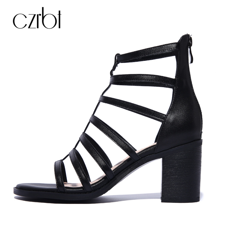 CZRBT Rome Style Summer Shoes Women Gladiator Sandals High Heels 8cm Handmade Genuine Leather Sexy Ladies Casual Square Heel women sandals 2017 summer shoes woman flips flops gladiator wedges bohemia fashion rivet platform female ladies casual shoes