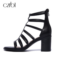CZRBT Rome Style Summer Shoes Women Gladiator Sandals High Heels 8cm Handmade Genuine Leather Sexy Ladies