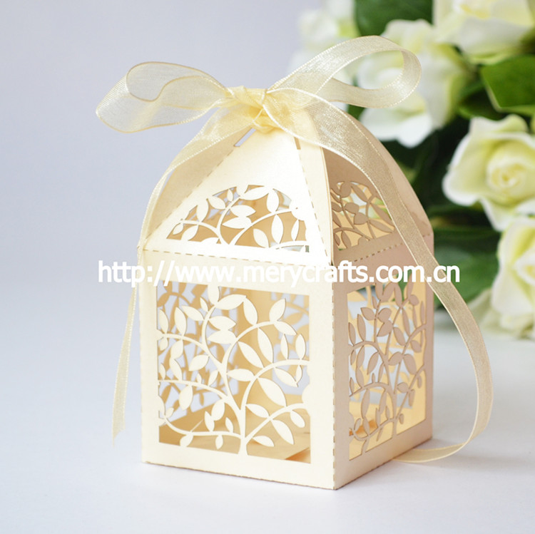 Paper Material And Wedding Invitation Box Use Laser Cut Unique Leaves Type  Indian Wedding Favour Boxes