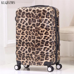 KLQDZMS 20/24/28inch Sexy Leopard rolling luggage spinner PC Travel Suitcase fashion trolley bags on wheels