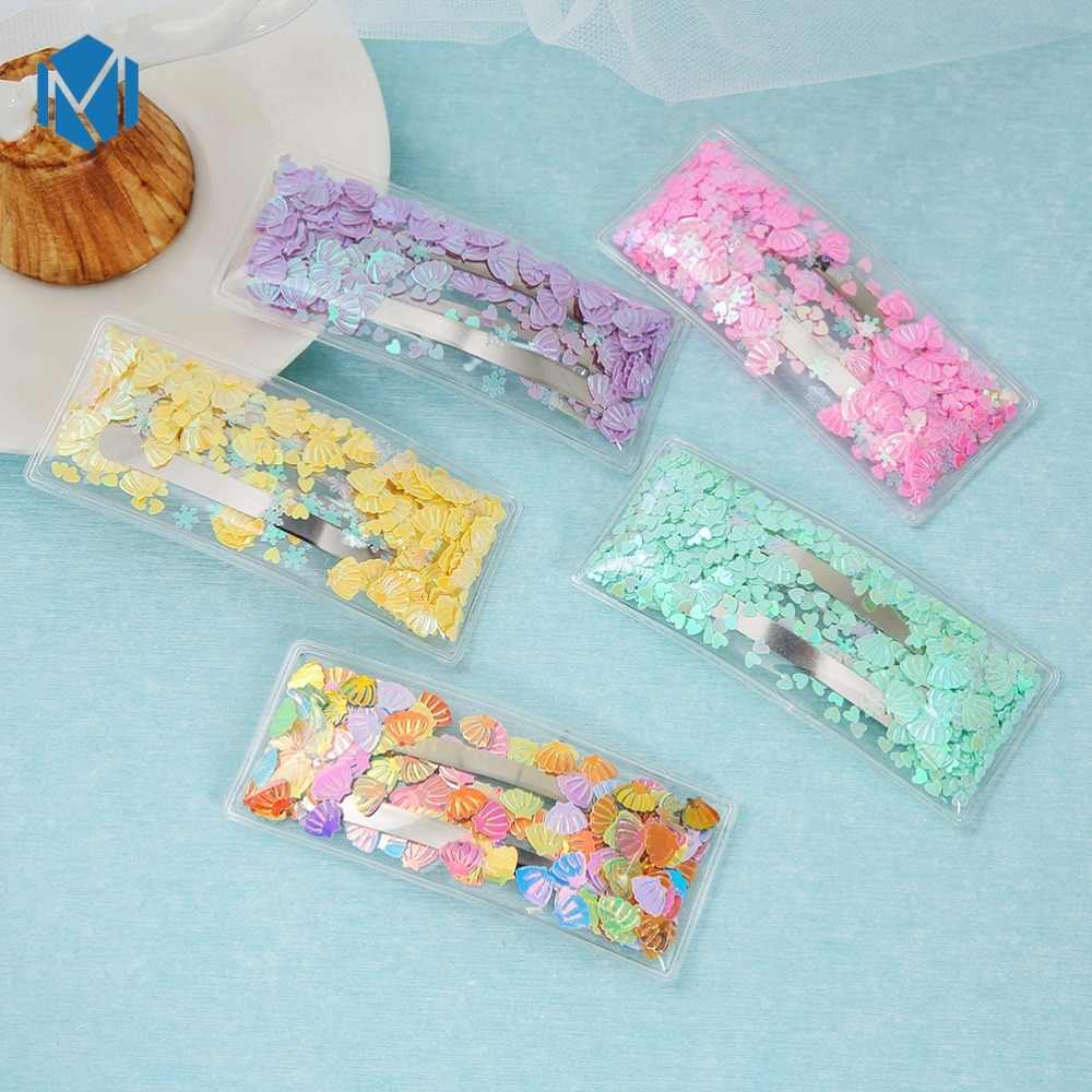 New Korea Sweet Transparent Colorful Sequin Hair Clips for Women Girls Snowflake Shell Fancy Rectangle Hairpins Hair Accessories