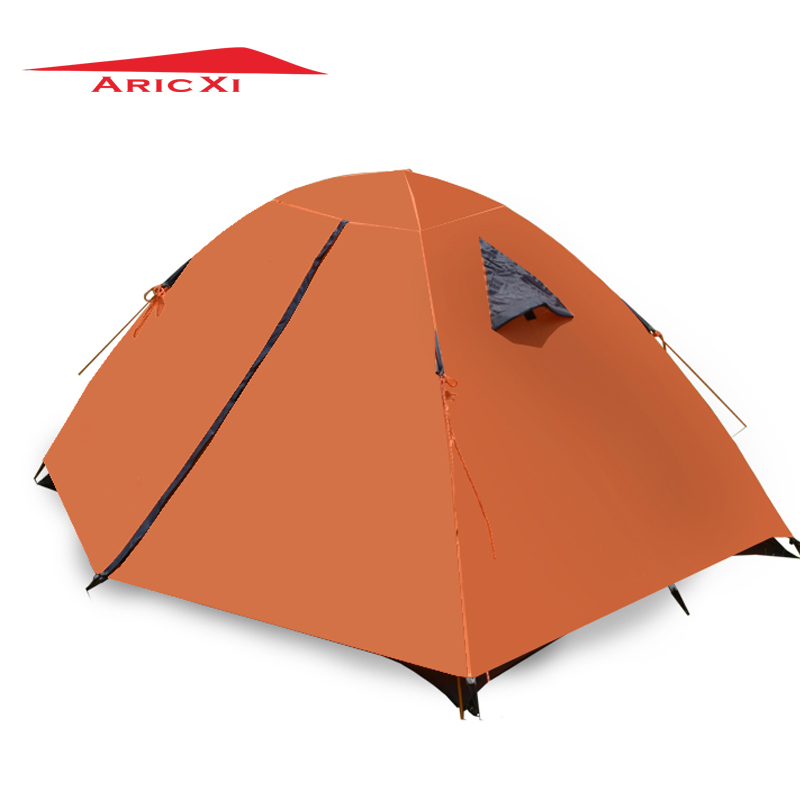 ARICXI 2 Person Waterproof Double Layer Camping Tents Aluminum Rod Portable High Mountain Outdoor Tent waterproof PU3000mm good quality flytop double layer 2 person 4 season aluminum rod outdoor camping tent topwind 2 plus with snow skirt