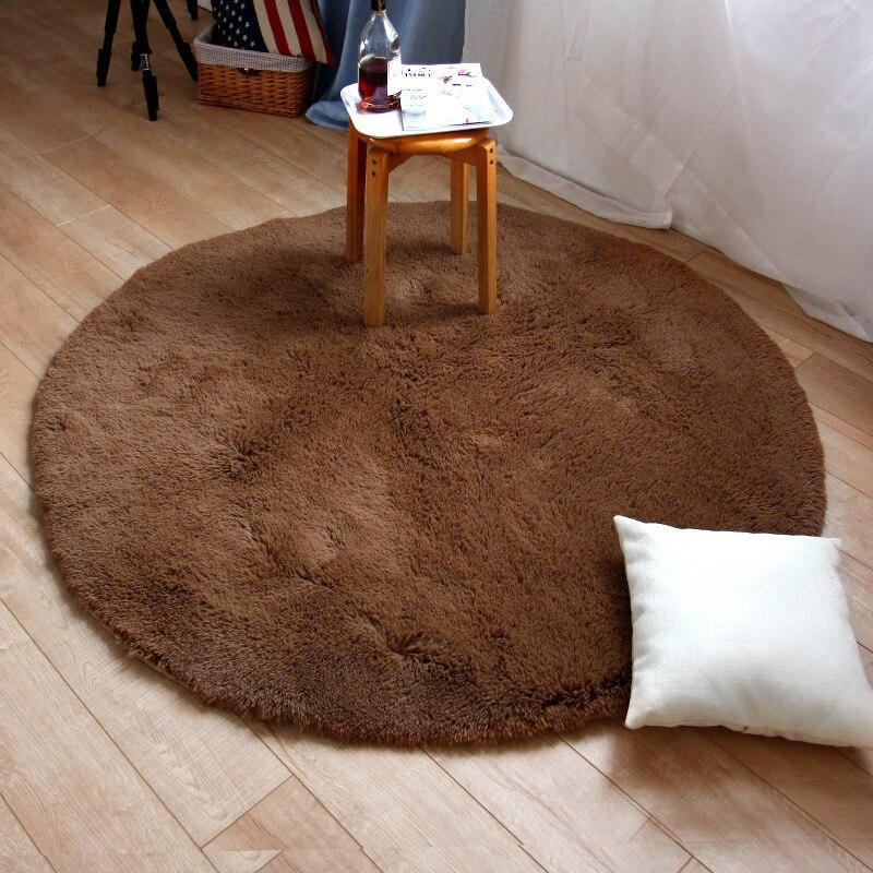 LOUTASI Plush Round Carpet Anti-slip Bedroom Mat Rug Chair Cushion Floor Door Carpet for Living Room Mat Kids Room Play Cover