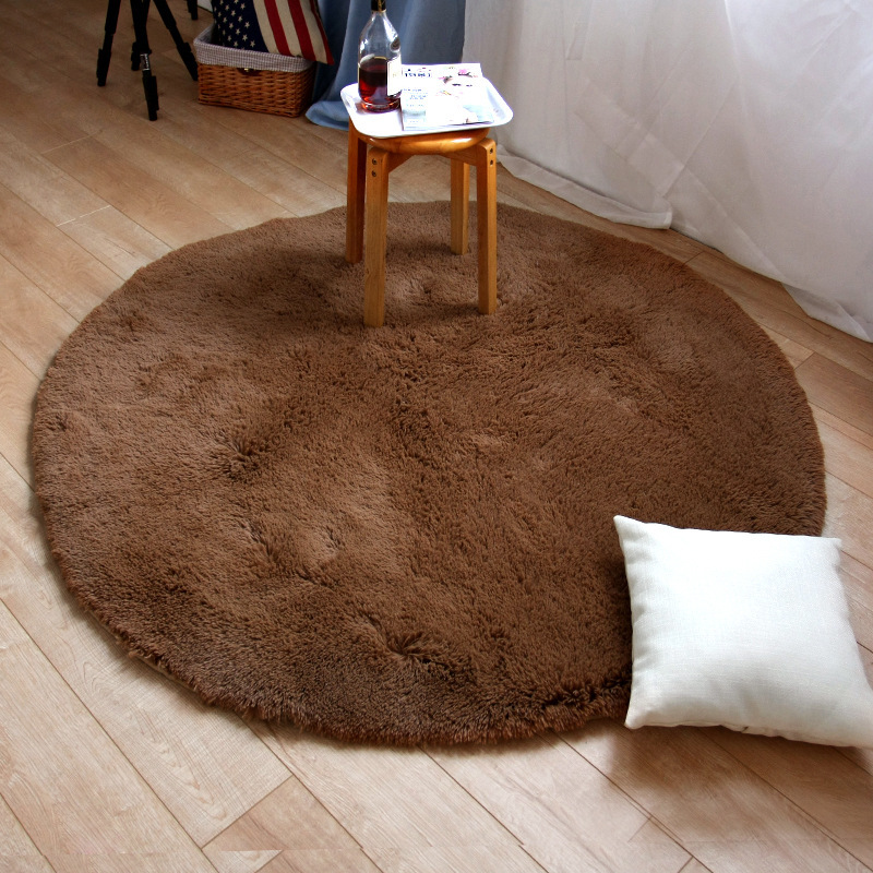 LOUTASI Plush Round Carpet Anti-slip Bedroom Mat Rug Chair Cushion Floor Door Carpet for Living Room Mat Kids Room Play Cover