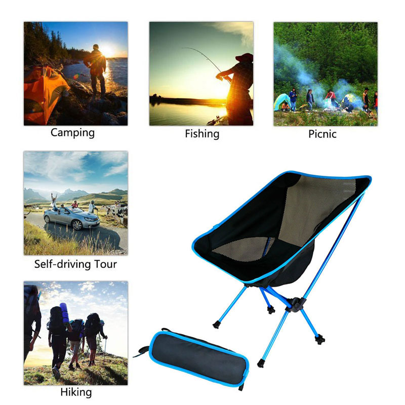Ultra Light Folding Fishing Chair Seat For Outdoor Camping Leisure Picnic Chair Portable Collapsible Moon Chair Fishing Camping