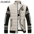 Aolamegs Men's Winter Jacket Cotton-padded Winter Coat Fashion Causal Patchwork Design Outwear Plus Velvet Veste Hiver Homme