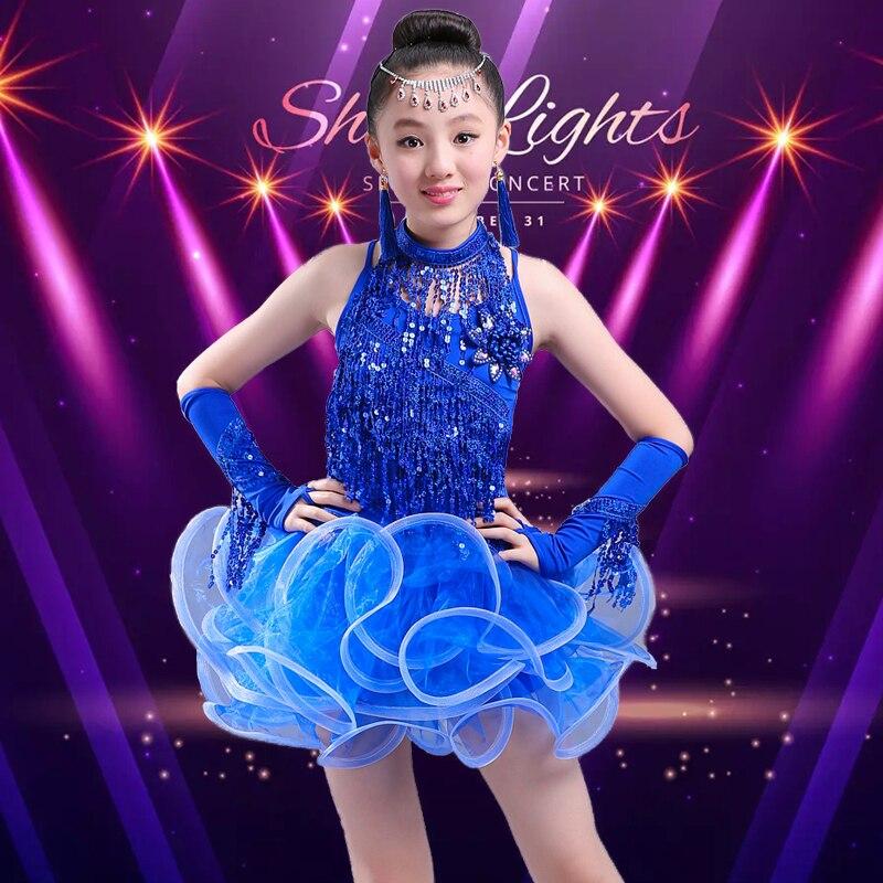 Платья для латинских танцев, распродажа, бальные платья размера плюс, платье с бахромой, штаны, бахрома для сальсы, костюм самбы для детей, девочек - Цвет: Синий