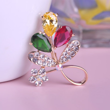 Bijuterias Emerald Flowers Broches Sakura Colorful Leaf Brooch with Zirconia Perfumes Femininos Wedding Hat Accessories Broaches