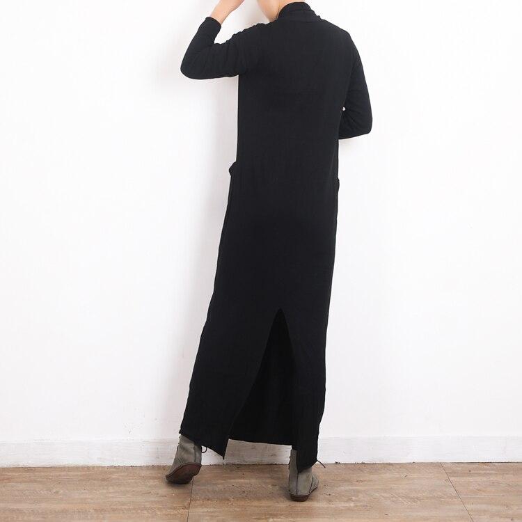 V Croix Robe Tricoté Automne Long Chandail À Manches Robes Lâche Élastique Wrap Black Lady Noir Femmes Longues Sexy Col hCtsQrd