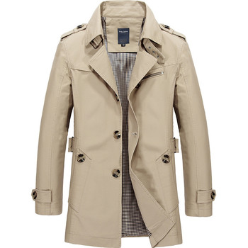Men's Trench Long Jacket Double Breasted Overcoat