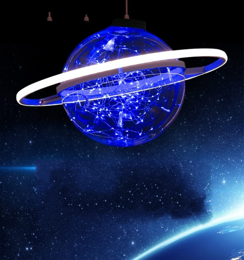 New Arrival Shine LED Flash Star Ball Wedding Showcase Decoration Space Planet Hanging Ornament Chandelier 25cm 30cm 40cm - 2