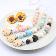 Silicone and Wood Pacifier Clip Wooden Bead Dummy Clip Holder Cute Pacifier Clips Soother Chains baby Teething Toy for Baby Chew wood pacifier clip metal dummy clip nature football pattern pacifier chain soother holder baby feeding clips attache sucette