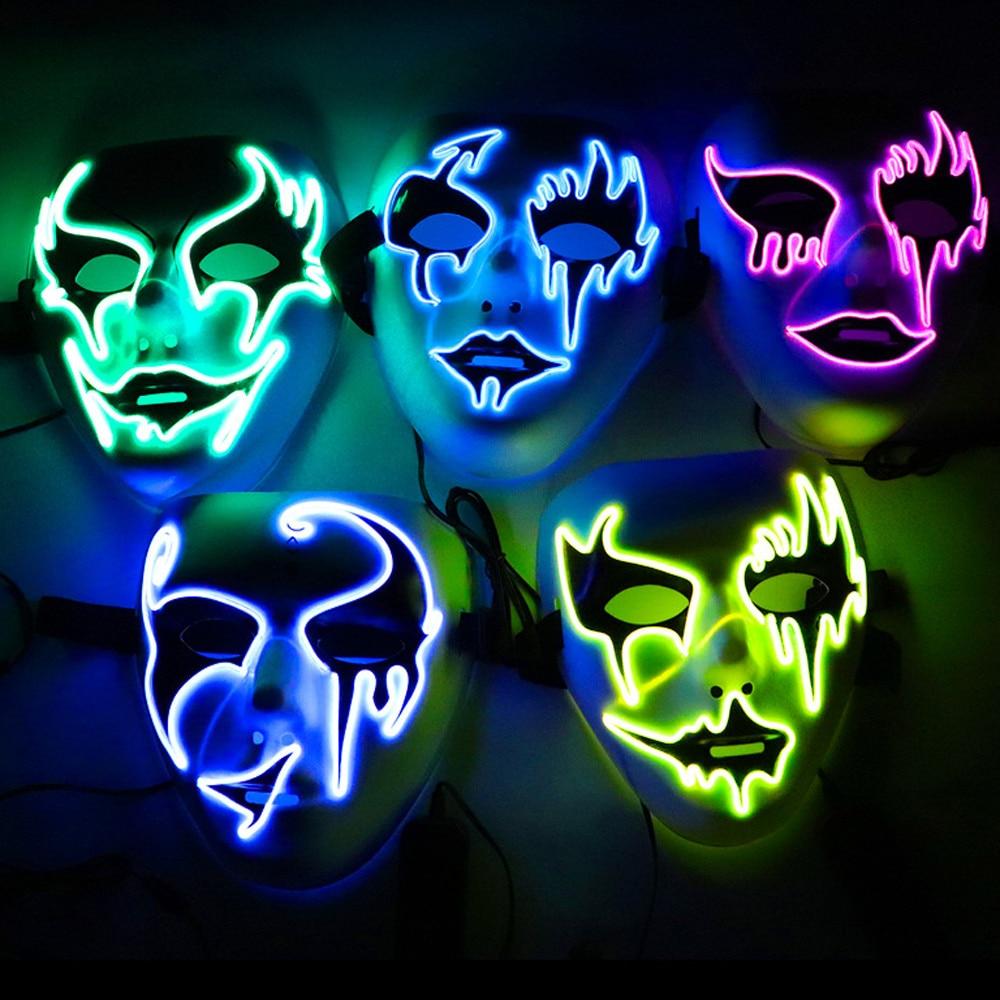 Halloween Sound Reaktiven Volle Gesicht LED Licht Up Purge Maske Dance Rave EDM Plur Party Dekoration