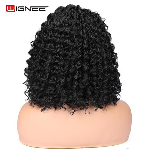 Wignee Natural Black Hair Kinky Curly Synthetic Wig For Women High Density Heat Resistant None Lace Side Part Female African Wig Multan