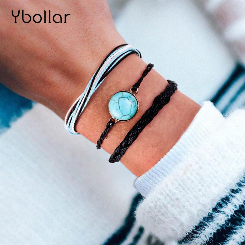 3pcs/set Bohemian Braided Bracelets Wax String Weave Rope Round Turquoises Bangles Multi-Layers Women Girls Beach Jewelry