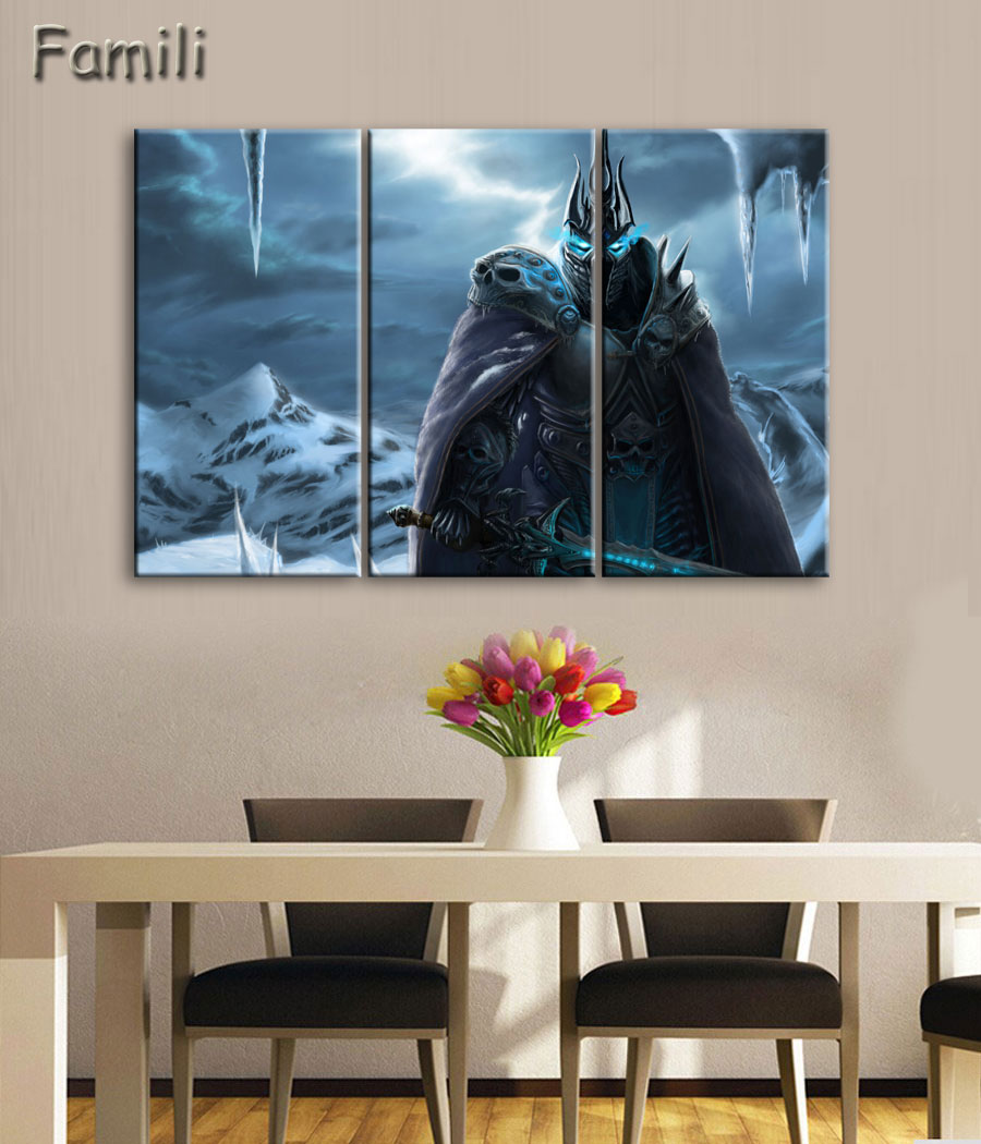 Canvas Wall Art Picture Landscape Painting 3 Panel Game World Of Warcraft Theme Modern Living Room Decorative