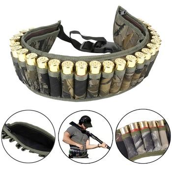 Military 28 Round Tactical Shotgun Shell Buckle Belt Holder Waist 12GA Ammo Pouch Camo Bullet Strap with Inner Zipper Pocket 2