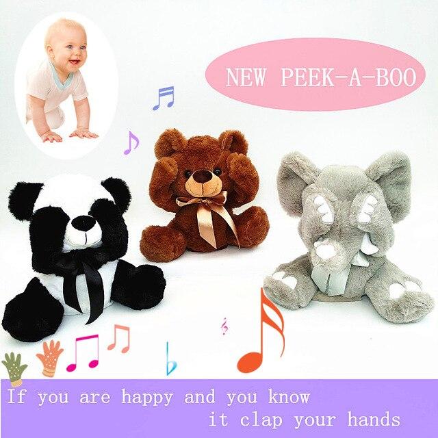 New Peek A Boo Animals Toy, Stuffed Animals & Plush Toy Dog/bear / Panda /elephant, Singing Baby Music Toys For Christmas Gift
