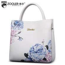 2016 women split leather handbags fashion elegant flowers lady shoulder bag quality brand Messenger bags bolsa feminina