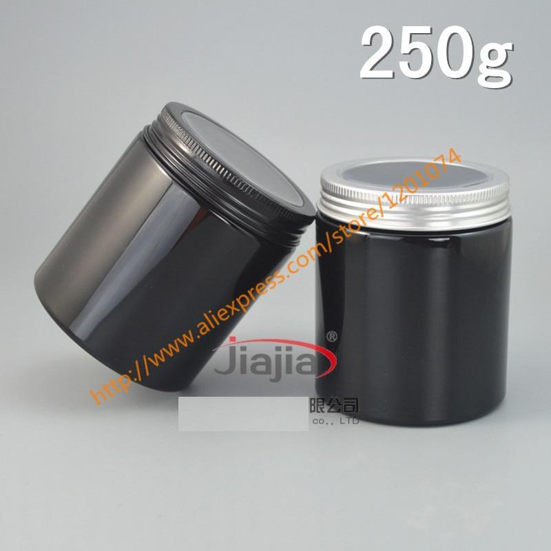 Tarro de crema negro PET de 250g con tapa de aluminio plateado/Negro (con ventana), herramienta de maquillaje contenedor de máscara facial de 250 ml, buen almacenamiento de 250 ml-in Botellas rellenables from Belleza y salud    1