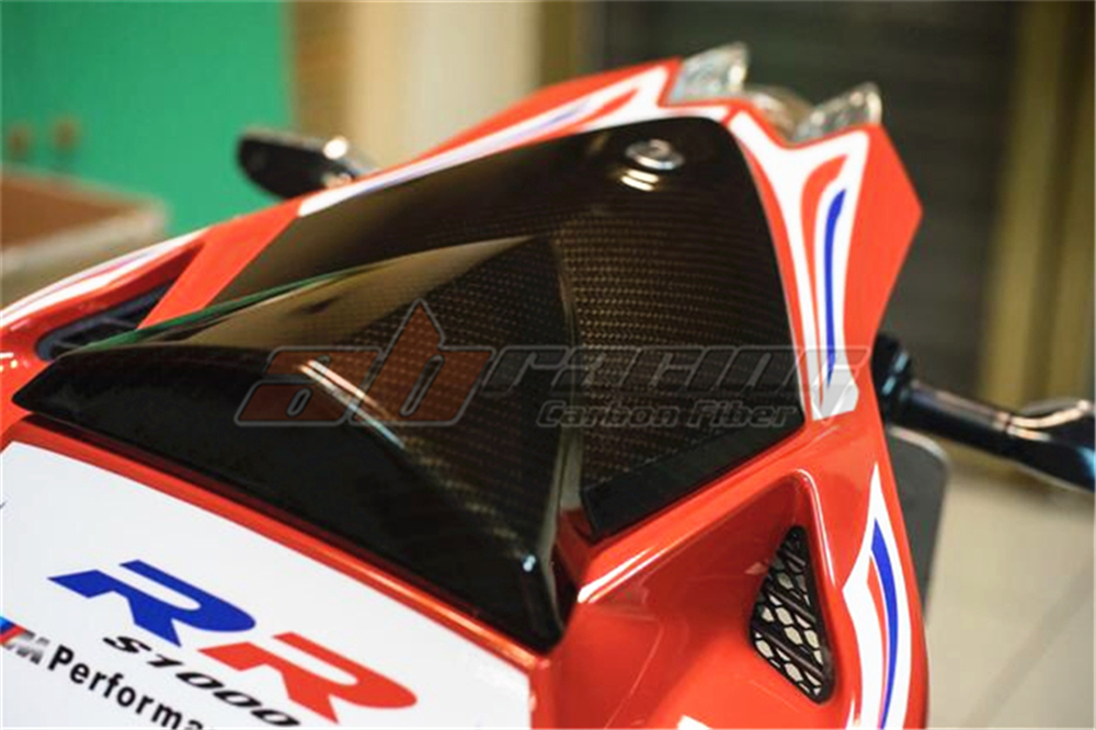 Replacement Passenger Seat Top Cover For <font><b>BMW</b></font> <font><b>S1000RR</b></font> 2009-2014 Full <font><b>Carbon</b></font> <font><b>Fiber</b></font> 100% Twill image