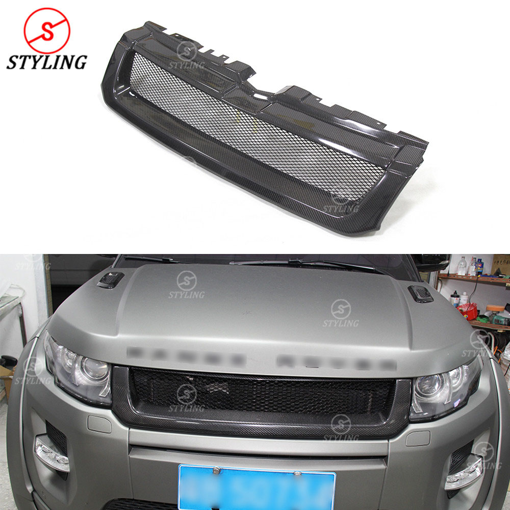For Land Rover Range Rover Evoque Carbon Fiber Front Grille Front Bumper Lip Medium frame Trim Evoque grille 2012 2013 2014 2015 for land rover range rover evoque 2012 2016 car interior front dashboard edge cover frame trim abs chrome sticker accessories
