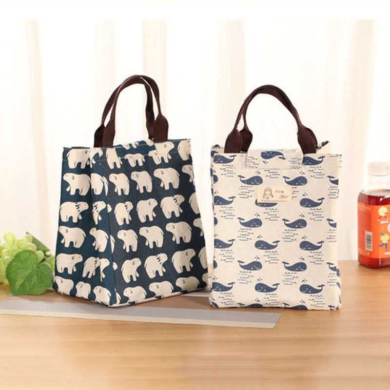 COCODE Waterproof whale Tree Bear Lunch Box Portable Insulated Thermal Cooler Food Storage Carry Bag Picnic Handbags
