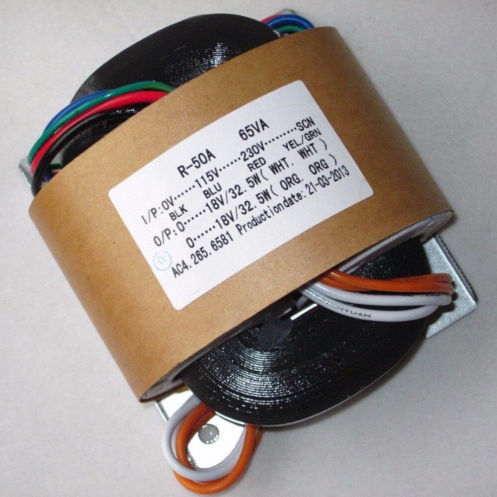 2*18V 1.8A R Core Transformer 65VA copper custom transformer 115-230V input with shield output for Power supply amplifier цена и фото