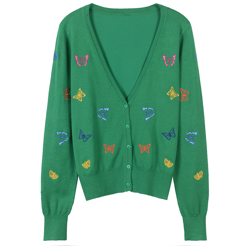 2018 Luxury Designer Brand Spring Cardigans Women V Neck Embroidery Butterfly Single Breasted Knitted Sweater 4 Colors