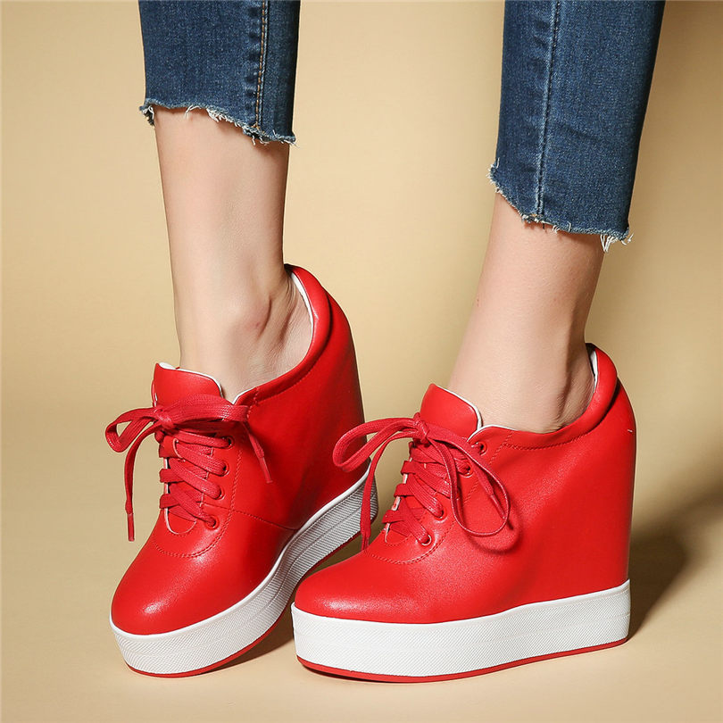 Tennis Shoes Women Cow Leather Wedges High Heel Pumps Round Toe Platform Ankle Boots Lace Up Trainers Punk Creepers Casual