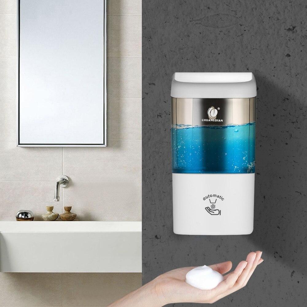600 ml distributeur de savon en mousse automatique mural distributeur de savon sans contact boîte de récipient avec capteur IR pour salle de bains cuisine