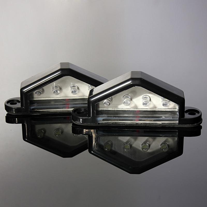 2Pcs/Pair 12V/24V 4LEDs Number Licence Plate Light Rear Tail Lamp Truck Trailer Lorry Auto Lights White 2pcs truck light 4 leds lamp