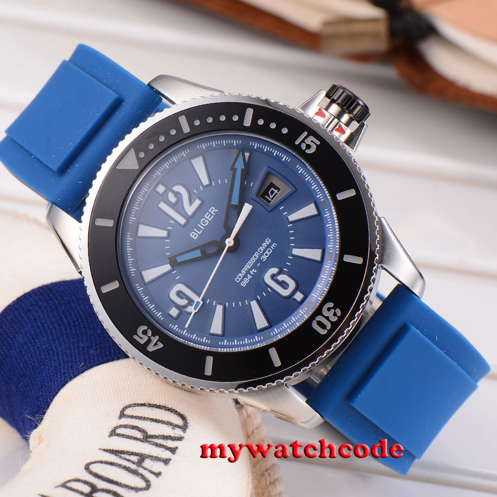 лучшая цена 43mm bliger blue dial ceramic bezel rubber strap miyota automatic mens watch