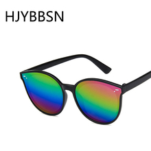 HJYBBSN Kinder Zonnebril кошачий глаз детские солнцезащитные очки круглая красочная оправа радужные зеркальные солнцезащитные очки для мальчиков и девочек Oculos de sol